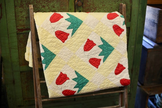 Indiana Tulip Farm Summer Quilt Handmade, Hand Stitched, Hand Quilted Cotton
