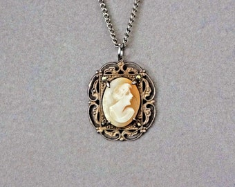 Vintage Art Deco Sterling Marcasite Carved Shell Cameo Pendant Necklace