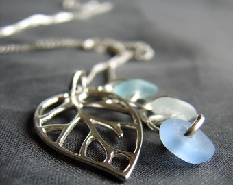 Sea Glass Necklace  /  Beach Glass Necklace  /  Genuine Sea Glass Jewelry  /  Beach Glass Jewellery  /  Leaf necklace / pastel seaglass