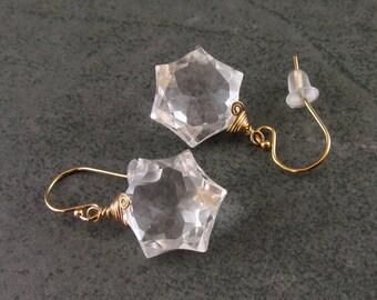 Crystal quartz snowflake earrings, handmade 14k gold filled Star of David earrings