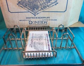 Vintage ONEIDA Silverware Buffet Caddy,  Storage Rack for  Silverware, Oneida Buffet Caddy, Kitchen Silverware Storage, Kitchen Kitsch
