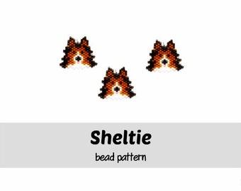 Sheltie Shetland Sheepdog Bead Weaving Pattern, Brick Stitch