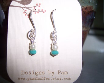 Dainty Pearl and Chech Glass Drop Earrings
