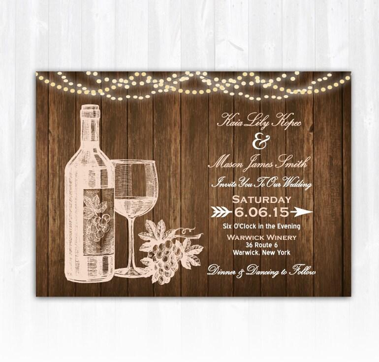 Wine Wedding Invitation DIY PRINTABLE Digital File or Print