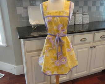 Mellow Yellow ~  Annie Style Apron  - Woman's Retro Apron - 4RetroSisters