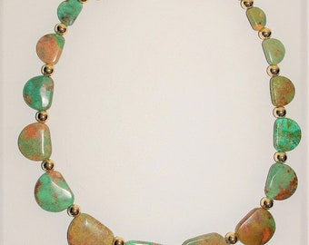 SIGNED Green Turquoise Necklace, Natural Gemstone Necklace - S2382
