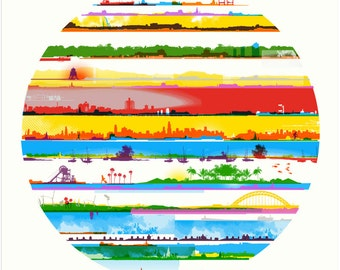 Screen print called City Lines. Limited edition hand made artwork. London - town - round - cityscape - urban