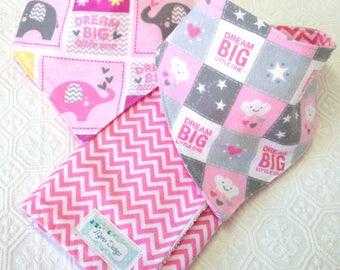Pink Elephant Bandana Bibs & Burp Cloth Set - Teething Drool Bib - Baby Bib set - Pink Elephant - Pink Baby Shower Gift -Holiday Gift Set -