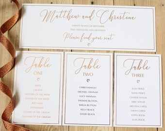 Wedding Table Plan Numbers with Names/Individual Table Plan Number Cards in Gold/Silver/Rose Gold/Champagne Gold/Colour Foils