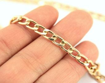 5 meters Gold Chain, (9,5mm x 5,5mm) Gold Tone Curb Chain, ALUMINUM Chain, Free Nickel Chain, Bulk Chain, Gold Curb Chain, Flat Curb Chain