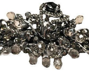 New Antique Silver Smoke Gry and Black Crystal Cluster 3'' Hair Barrette