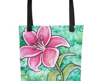 Pink Lily Galaxy - Tote Bag