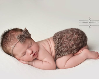 Toffee Brown Mohair Skirt and Headband Set Newborn Baby Photography Prop