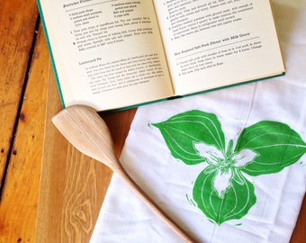 wood block print trillium tea towel by color.joy