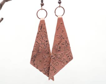 letters earrings textured copper metalwork jewelry dangle statement earrings bohemian jewelry gifts for mom minimal earrings