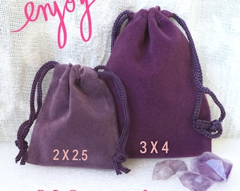 """SHIPPING 4-27 -  Velveteen Drawstring Bag, Velvet Coin Pouch, Gift Bag, Crystal Pouch, Dice Bag, 2 x 2.5""""  and 3 x 4"""" available, BULK TOO!"""