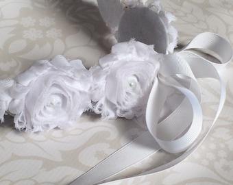 Wedding Flower Headband - Communion Headband - Flower Girl Headband - Shabby Flower Wreath - Christening Headband - Baptism Accessory