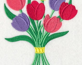Tulip Bouquet Embroidered Flour Sack Hand/Dish Towel