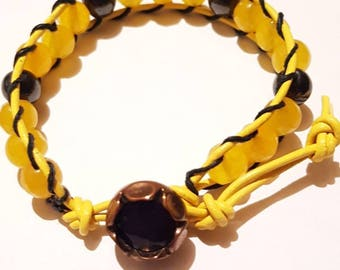 Beaded leather wrap bracelet. Yellow and black gemstone bracelet. Hippie. Bohemian wrap bracelet