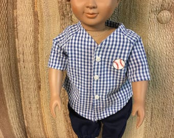 """18"""" doll outfit (like Am Girl/boy) baseball outfit"""