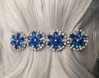 Gift-For-Her Winter Wedding Blue Jeweled Thick Hair Clip - Christmas Gift for Her Hair Clips  - Hair Clip  - Christmas Accessories fo Women