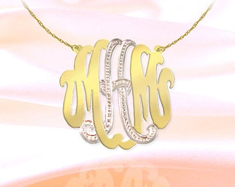 Monogram Necklace - 1.5 inch Sterling Silver  24K Gold Plated Handcrafted Two Tone Personalized Monogram - Initial Necklace -  Made in USA