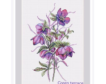 Watercolor hellebore cross stitch pattern, cross stitch pattern flower, cross stitch pattern, modern cross stitch, instant download, PDF