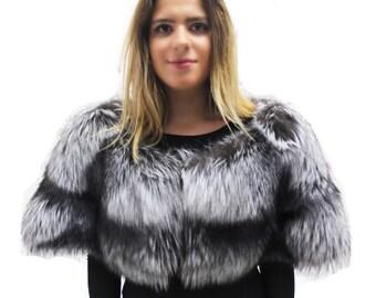 Silver Fox Fur Stole / Shawl / Capelet