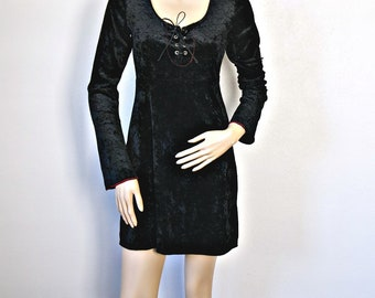 Dress Black Goth Mini Vintage 1990's Crush Velvet Laced Front Tripp Size Small