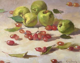 Still Life with Apples and Grapes, Original Oil Painting, Ling Strube