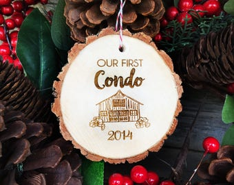 Personalized Our First Condo Tree Slice Ornament