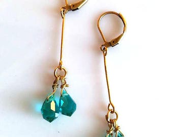 Blue and Gold Earrings | Blue Crystal Earrings | Blue Dangle Earrings | Aquamarine Earrings | Antoinette Earrings | Dangle | Blue Earrings