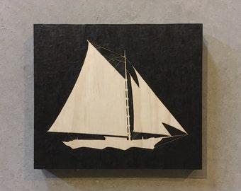 Sailing ship art, Ship wall hanging, Ship silhouette, Ketch ship, Woodburned ship, Sailboat pyrography, Ship woodburning, Ship wall decor