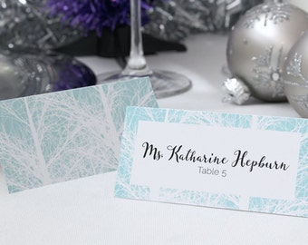 FULL SERVICE Escort Cards Wedding Party Winter Christmas New Years Snow Trees- Mint