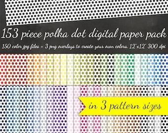80% OFF SALE Digital Scrapbook Polka Dot Paper Pack - 3 Polka Dot Pattern Sizes 50 Colors Each +3 Overlays - Printable Scrapbook Paper