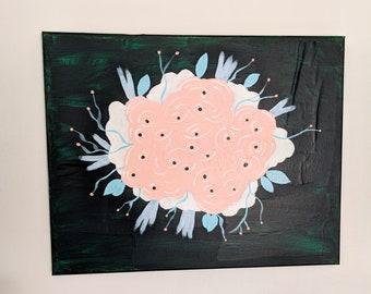 Abstract Pink and Green Floral Original Mixed Media Wall Art