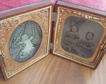 Antique Daguerrotype of Infant and Young Child with Sister...Hidden Mother Photograph...Tin Type...Antique Images...Babies