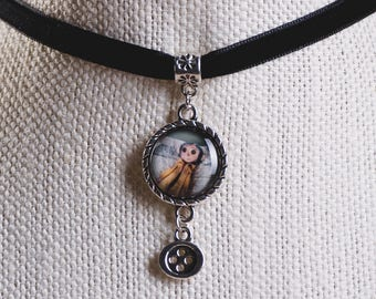 Coraline inspired image pendant choker with hanging button charm.