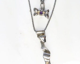 Amethyst Ribbon and bow-tie necklace