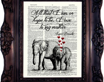 MOTHER'S DAY GIFT Mom Daughter gift for Mum Daughter Gift Mother Elephant Art Print Mum Birthday Gift Mommy Birthday Mother Gift Mommy 773