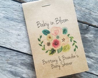 RUSTIC Sunflowers Baby Shower Favors Floral Spray Bouquet Baby in Bloom Flower Seed Packets Favor for Baby Sprinkle pinks greens brown kraft