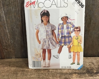 Easy McCalls pattern, McCalls 2936 vintage uncut childrens size 4-6, vintage from 1987, pattern for little girls, Unlined jacket and dress