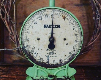 charming rustic art deco apple green salter scales / made in england / vintage kitchen scales / primitive / green scales / vintage kitchen