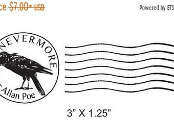 May Sale Mail Art Postal Cancellation Raven Nevermore Edgar Allan Poe Rubber Stamp 089