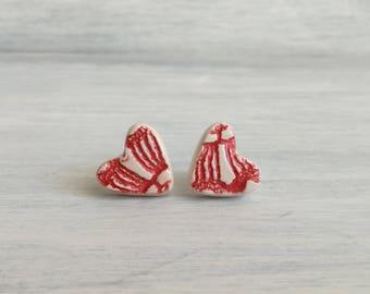 Red hearts lobe earrings-ceramic stud earrings-red hearts ceramic-heart earrings-Ceramic Jewelry