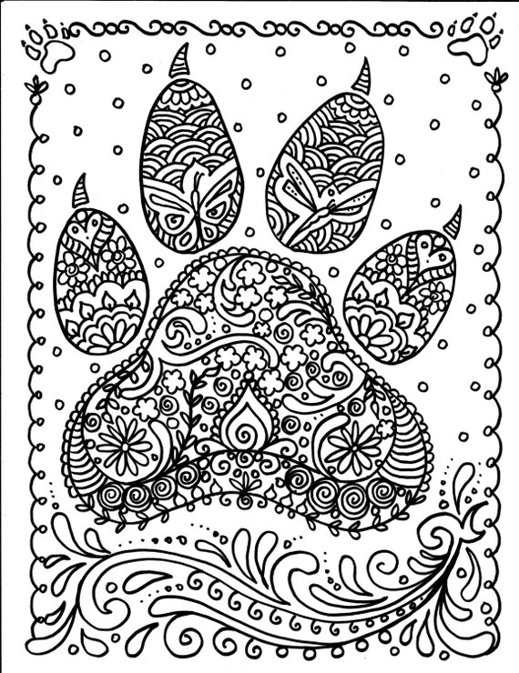 INSTANT Download Dog Paw Print You be the Artist Dog