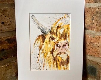 Highland cow pen and watercolour art, original not print, cow art, watercolour animal, signed and mounted