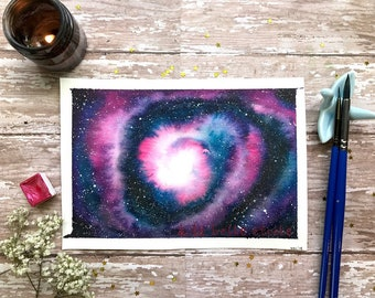 "7x5 Original ""Under the beautiful star"" Spiral galaxy watercolor painting/ room decor/ celestial art"