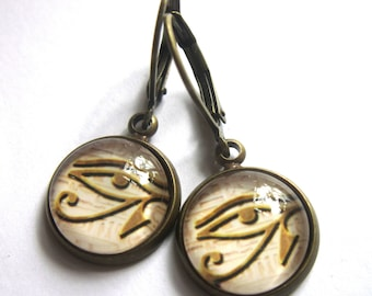 Eye Of Horus Earrings Egyptian Symbol All Seeing Eye Ra Glass and Bronze Fashion Jewellery