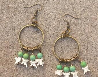 Jade Rattlesnake Vertebrae Earrings
